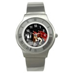 Crimson Wings Stainless Steel Watch