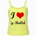 I-Love-My-Bulldog Yellow Spaghetti Tank