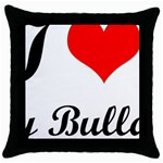I-Love-My-Bulldog Throw Pillow Case (Black)