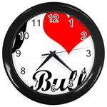 I-Love-My-Bulldog Wall Clock (Black)