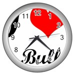 I-Love-My-Bulldog Wall Clock (Silver)