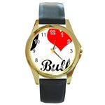 I-Love-My-Bulldog Round Gold Metal Watch
