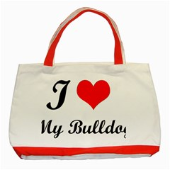 I Love My Bulldog Classic Tote Bag (red) by swimsuitscccc