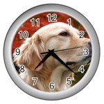 dog-photo cute Wall Clock (Silver)