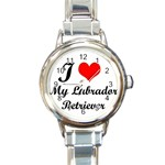 I Love My Labrador Retriever Round Italian Charm Watch