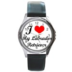 I Love My Labrador Retriever Round Metal Watch
