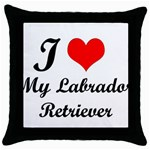 I Love My Labrador Retriever Throw Pillow Case (Black)