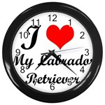 I Love My Labrador Retriever Wall Clock (Black)