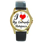 I Love My Labrador Retriever Round Gold Metal Watch