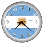 Argentine Flag Wall Clock (Silver)