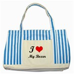 I Love My Beagle Striped Blue Tote Bag