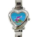 Purple Hammie Fish Heart Italian Charm Watch