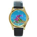 Purple Hammie Fish Round Gold Metal Watch