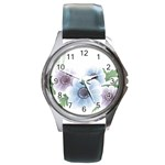 Flower028 Round Metal Watch