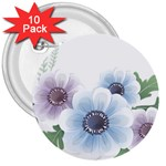 Flower028 3  Button (10 pack)