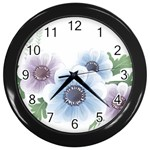 Flower028 Wall Clock (Black)