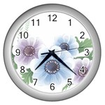 Flower028 Wall Clock (Silver)
