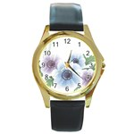 Flower028 Round Gold Metal Watch
