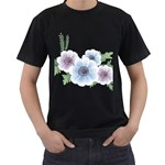 Flower028 Black T-Shirt (Two Sides)