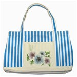 Flower028 Striped Blue Tote Bag
