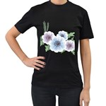 Flower028 Women s Black T-Shirt