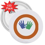 Hand 3  Button (100 pack)