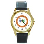 Hand Round Gold Metal Watch