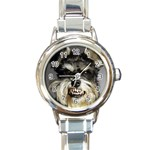 Animals Dogs Funny Dog 013643  Round Italian Charm Watch