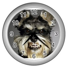 Animals Dogs Funny Dog 013643  Wall Clock (Silver) from ArtAttack2Go Front
