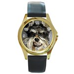 Animals Dogs Funny Dog 013643  Round Gold Metal Watch