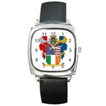 Half Irish American Crest (2) Square Metal Watch