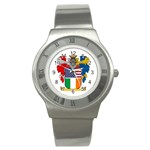 Half Irish American Crest (2) Stainless Steel Watch