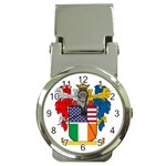 Half Irish American Crest (2) Money Clip Watch