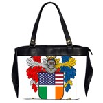 Half Irish American Crest (2) Oversize Office Handbag (Two Sides)