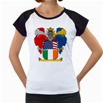Half Irish American Crest (2) Women s Cap Sleeve T