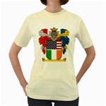 Half Irish American Crest (2) Women s Yellow T-Shirt