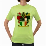 Half Irish American Crest (2) Women s Green T-Shirt