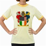 Half Irish American Crest (2) Women s Fitted Ringer T-Shirt