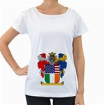 Half Irish American Crest (2) Maternity White T-Shirt