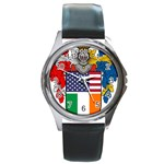 Half Irish American Crest (2) Round Metal Watch