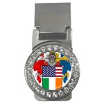 Half Irish American Crest (2) Money Clip (CZ)