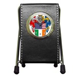 Half Irish American Crest (2) Pen Holder Desk Clock
