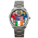 Half Irish American Crest (2) Sport Metal Watch