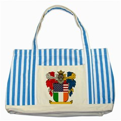 Half Irish American Crest (2) Striped Blue Tote Bag from ArtAttack2Go Front