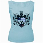 Half Greece American Crest (2) Women s Baby Blue Tank Top