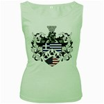 Half Greece American Crest (2) Women s Green Tank Top from ArtAttack2Go Front