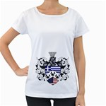 Half Greece American Crest (2) Maternity White T-Shirt