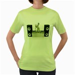 Dj Mixing Turntables 1600 Clr Women s Green T-Shirt