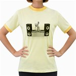 Dj Mixing Turntables 1600 Clr Women s Fitted Ringer T-Shirt