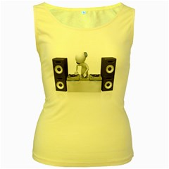 Dj Mixing Turntables 1600 Clr Women s Yellow Tank Top from ArtAttack2Go Front